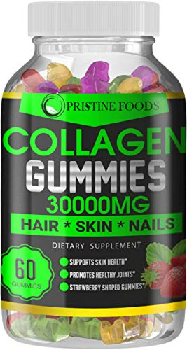 Pristine Foods Collagen Gummies: Best Hydrolyzed Collagen Gummy Supplement for Women and Men, Gluten-Free, Kosher and Halal, Types I and III for Skin, Joint and Gut Support, w/Biotin Strawberry