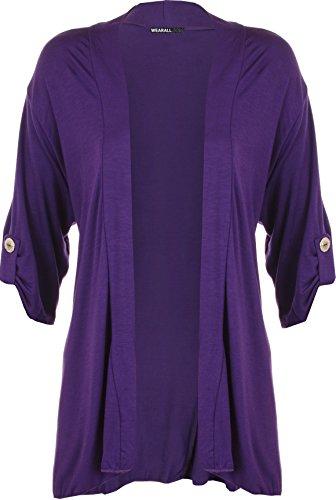 WearAll - Damen Übergröße Kurzarm knopf offen Cardigan Top - Violett - 54-56