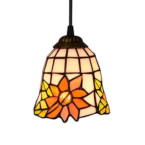 JZDHAOANHE Tiffany Estilo Iluminación Colgante de 6 Pulgadas, Vidrieras Pétalos Techo Lámpara Colgante, para Dormitorio Oficina Restaurante Decoración,Style d