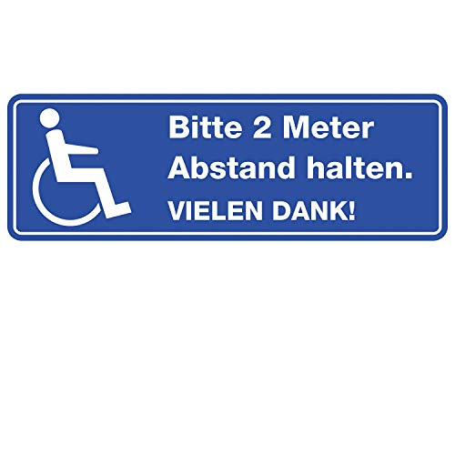 easydruck24 Bitte 2 Meter Abstand halten I Aufkleber für Rollstuhl-Fahrer wetterfest 20 cm