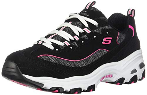 Skechers Womens D'Lites Low Top Lace Up Running, Black-hot Pink, Size 11.0