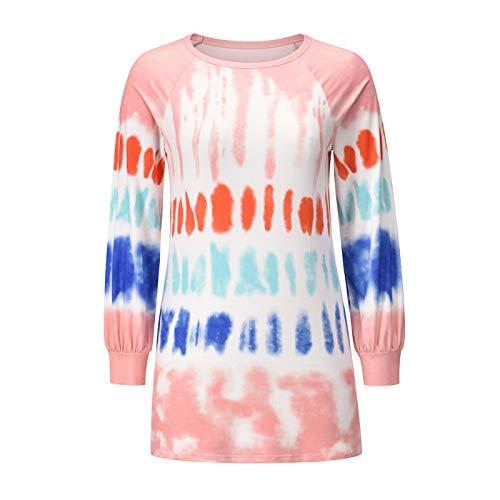 Fainash Camiseta de Cuello Redondo para Mujer, Sudadera con Estampado de teñido Anudado de Color de Contraste de Moda, Jersey Holgado Informal cómodo para Deportes al Aire Libre XL