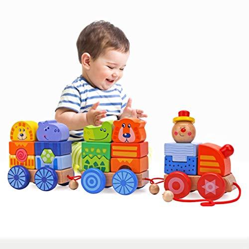 DASGF Bois Train Building Blocks Jouets de Combinaison en Bois Ourson Puzzle éducation pour Les Enfants âgés de 3 ansCadeau d'anniversaire