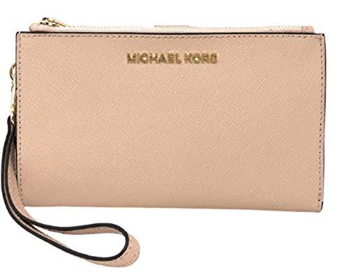 Michael Kors Jet Set Travel Double Zip Saffiano Leather Wristlet Wallet (Truffle)