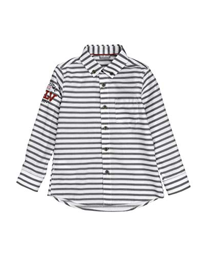 GULLIVER Hemd Jungen Hemden Junge Kinder Jungen Grau Weiss Gestreift mit Patch Baumwolle 3-8 Jahre