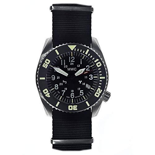 MWC Dephtmaster - Reloj automático de acero negro y zafiro, cerámica, tritio, fecha, tela de la OTAN, militar, para hombre