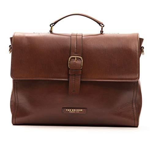 The Bridge Cartella Ventiquattrore borsa porta Pc 14'apertura zip pelle leather tracolla shoulder bag uomo man marrone 39X29X9 Cm 46301701 -Marrone