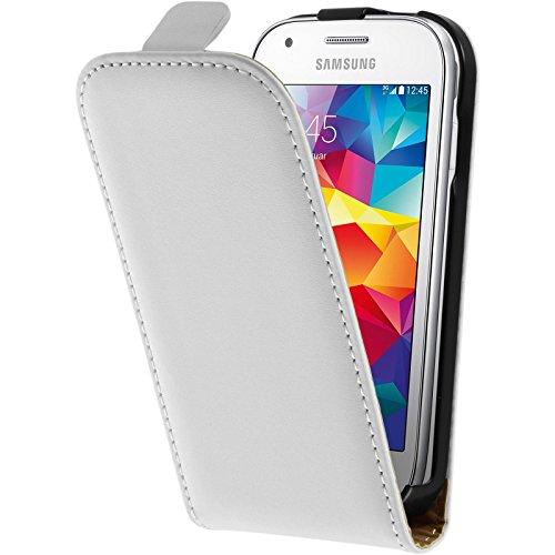 PhoneNatic Kunst-Lederhülle kompatibel mit Samsung Galaxy Ace Style - Flip-Hülle weiß + 2 Schutzfolien