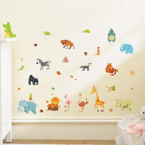 Dschungel Wald Tiere Kinderzimmer Safari Kinderzimmer Baby Wohnkultur Poster MonkeyWandaufkleber Wand-Aufkleber Fototapete Wandtattoo Wanddekoration