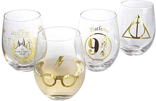 Harry Potter Stemless Wine Glasses Set of 4 Gold Harry Potter Symbols and Designs Glass 17 oz product image