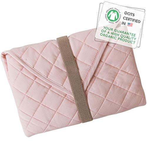 MakeMake Organics Organic Changing Pad GOTS Certified Organic Cotton Fill Portable Diaper Changing Mat Non-Toxic Diaper Clutch Changing Station Kit Compact Travel Pad (Blush Pink)