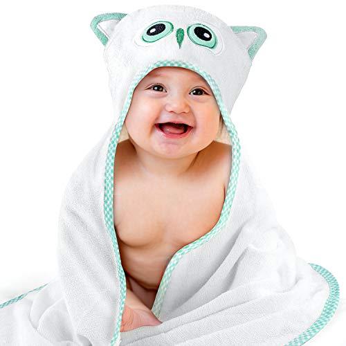Kaome Toalla con capucha para bebé, de bambú orgánico, con capucha, suave y superabsorbente, lavable a máquina, con diseño de búho, para baño de bebé de 0 a 5 años