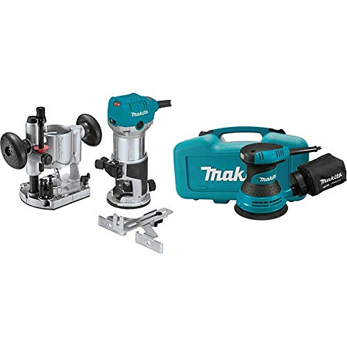 Makita RT0701CX7 1-1/4 HP Compact Router Kit, Fixed and Plunge bases with 5' Random Orbit Sander, Tool Case with BO5030K 5 inch Random Orbit Sander