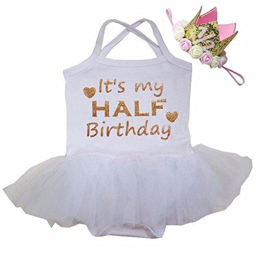 Kirei Sui - Body tutú de tul para bebé y diadema de corona dorada de 1/2 - blanco - 6-12 meses