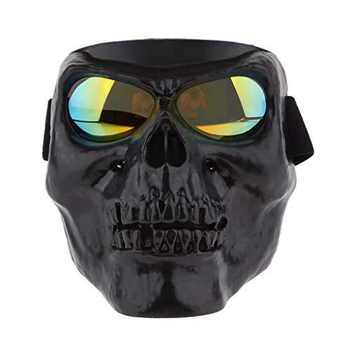 Homyl Masque Moto Crane Tête de Mort Lunettes Écran Protection UV Casque - Noir + Jaune, 20x16cm