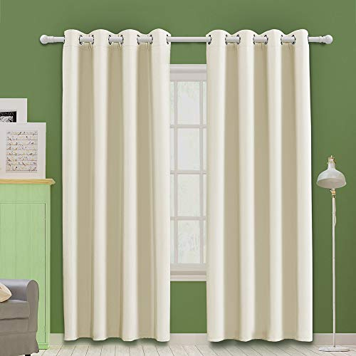 MOOORE Beige Bedroom Blackout Curtains, Eyelet Ring Top Thermal Insulated Soft Window Darkening Panel for Kitchen | Living Room | Boy Room Decoration 46 X 54 Inch Beige Drop 2 Panels