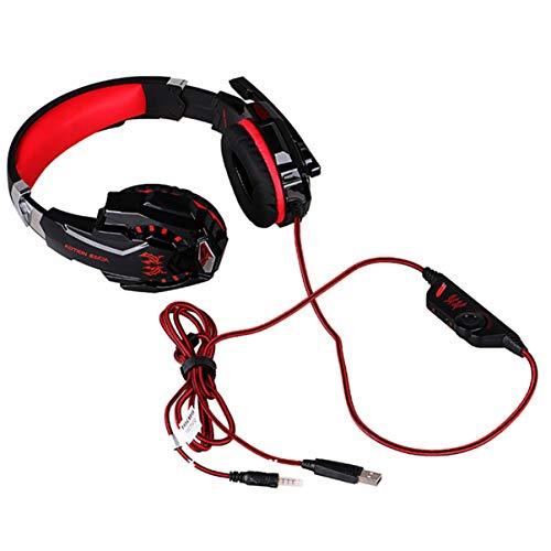 FHJZXDGHNXFGH G9000 - Auriculares para videojuegos con micrófono con cancelación de ruido y luz LED y almohadillas de memoria suave