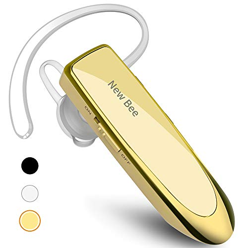 New bee Bluetooth Earpiece V5.0 Wireless Handsfree Headset 24 Hrs Driving Headset 60 Days Standby Time with Noise Cancelling Mic Headsetcase for iPhone Android Samsung Laptop Truck Driver, Gold