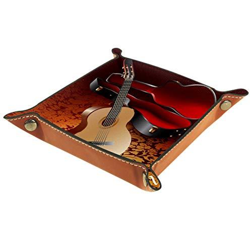 XiangHeFu Bandeja de Cuero Guitarra Favorita Almacenamiento Bandeja Organizador Bandeja de Almacenamiento Multifunción de Piel para Relojes,Llaves,Teléfono,Monedas