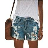 Zestion Pantalones Cortos de Mezclilla con Agujeros Rasgados y Elegantes para Mujer Pantalones Cortos Rectos de Cintura Media Lavados a la Moda Tendencia de la Calle XX-Large