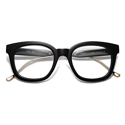 SOJOS Classic Square Blue Light Blocking Glasses Retro Computer Eyeglass SJ5060 with Black Frame/Anti-Blue Light Lens