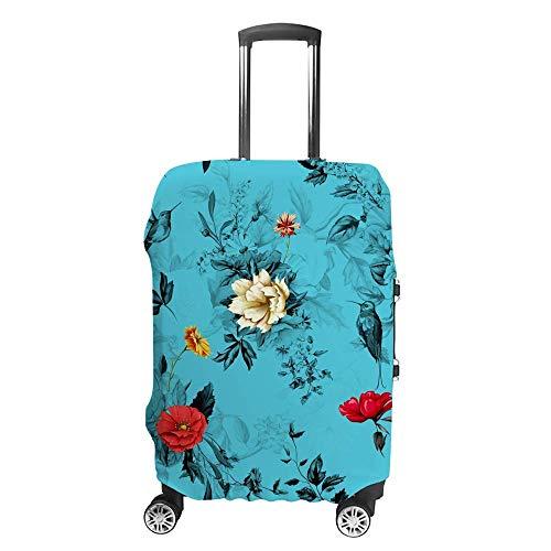 Gepäckabdeckung, verdickt, waschbar, Blumen, Kolibri, blau, Polyester, elastisch, faltbar, leicht, Reisekoffer-Schutz