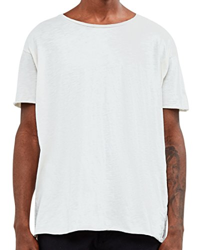 Nudie Jeans Unisex-Erwachsene Roger Slub T-Shirt, gebrochenes weiß, Large