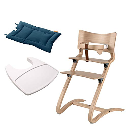 Leander Stuhl natur - Hochstuhl - Kinderstuhl - Erwachsenenstuhl mit Babybügel + Tablett weiß + Kissen dark blue