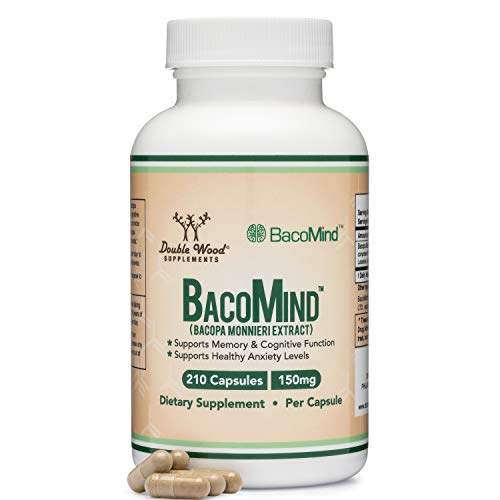 BacoMind Organic Bacopa (Patented and Clinically Proven Form of Bacopa Monnieri Extract) 210 Vegan Capsules, Promotes Learning and Memory, Reduces Anxiety by Double Wood Supplements