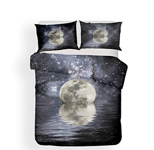 WENYA Naturaleza 3D Paisaje Juego de Cama Mar Galaxia Cielo Estrellado Planeta Luna Nubes Funda...