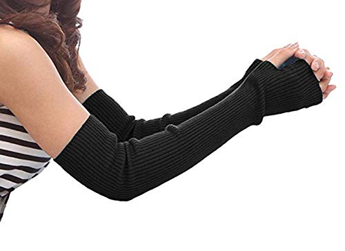 Women's Cotton Fingerless Arm Warmers Super Long Winter Cold Weather Gloves Thumbhole 19.7Inch Christmas Gifts for Women (50cm)