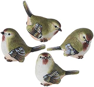 Mini Green Song Bird Figurines Set of 4, 2 Inches