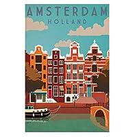 アムステルダムロンドンヴィンテージ旅行都市風景ポスター絵画キャンバス壁アートキャンバスに印刷リビングルームの装飾のための写真家の装飾50x70cmフレームなし
