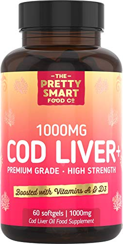 Powerful Cod Liver Oil Tablets - with Vitamins A & D - Cod Liver Oil Capsules 1000mg - Rich in Omega 3 EPA & DHA - High Strength Cod Liver Fish Oil - 60 Soft Gel Capsules - Made in The UK