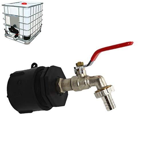 IBC-Adapter mit 1/2Messingkugelhahn S60X6, Wasserkolben-Wasserspeichertank IBC-Tankadapter, Ersatzteile für Gewindeanschluss-Ersatzventil Hochwertiges Messing / Zapfhahn für Regentonnen / Wasserhahn