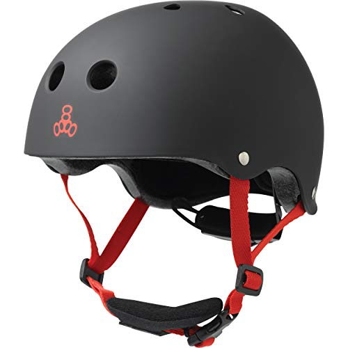 Triple Eight Lil 8 Dual Certified Sweatsaver Kids Skateboard and Bike Helmet with Padded Chin Buckle, Black Rubber, One Size