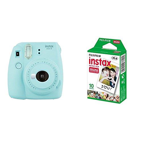 Fujifilm  Instax Mini 9 , Azul + 1 paquetes de películas fotográficas instantáneas (10 hojas)