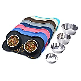 VIVAGLORY Dog Bowls Stainless Steel Double Bowls Set with Non-Spill Skid Resistant Silicone Mat for Cats Puppies Dogs