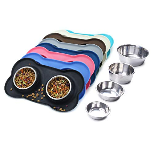 Vivaglory Dog Bowls Stainless Steel Water and Food Bowl Pet Cat Feeder with Non Spill Skid Resistant Silicone Mat, Medium, Black