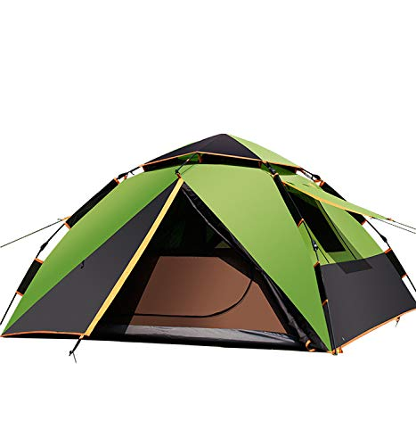 Automatic Camping Pop-Up Tent 2-4 Person Instant Setup Hydraulic Tents Double Layer Waterproof Dome Tent Large Family Tent with Carry Bag - 230×210×135Cm,Green