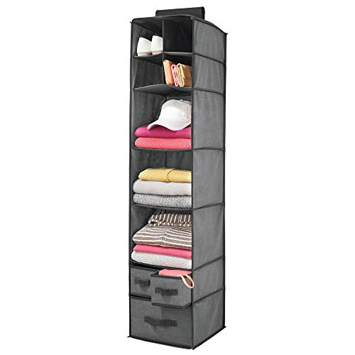 mDesign Soft Fabric Over Closet Rod Hanging Storage Organizer with 7 Shelves and 3 Removable Drawers for Clothes, Leggings, Lingerie, T Shirts - Textured Print with Solid Trim - Charcoal/Black