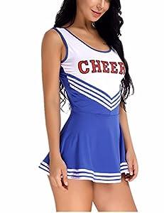 iiniim Women's School Girls Musical Party Halloween Cheer Leader Costume Fancy Dress Blue S