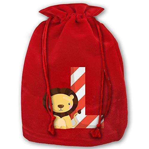 DJNGN Gran C-hristmas Bag Cartoon Lion Letter L Velour Santa Sack Bolsas con cordón Bolsas de joyería