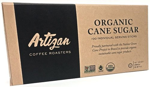 Organic Cane Sugar - 100 Individual Serving Sticks / Packets (100) - USDA /FAIRTRADE/NONGMO/U Parve/Kosher Certified