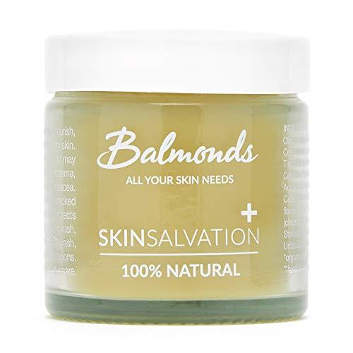 Balmonds Skincare - Skin Salvation 2.1 fl oz. - Salve for Dry, Itchy Skin & Eczema – Lip Healing, Cracked Hand Moisturizer with Calendula, Hemp & Beeswax – Natural, Vegan & Cruelty Free