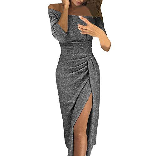 Goosuny Damen Sexy Kleid Langarm Ballkleid Off Shoulder Funkelnd Partykleid Enge Seitenschlitz Wickelkleid Lange Abendkleider Moderne Kleider Schöne Cocktailkleid Kleidung(Grau,M)