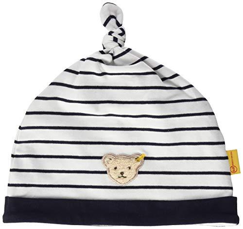 Steiff Baby-Jungen mit Streifen und Teddybärmotiv Mütze, Blau (Black Iris 3032), 37 (Herstellergröße: 037)