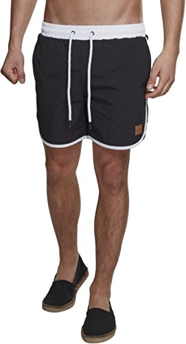 Urban Classics Retro Swimshorts Pantalones Cortos, Negro, XXXXL para Hombre