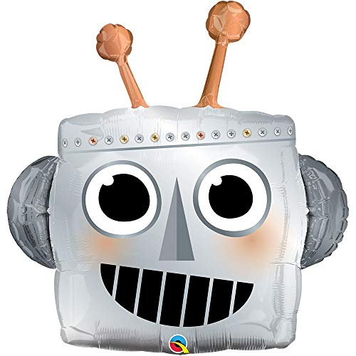 LOONBALLOON Alien, Space, Earth Theme Balloons, 35″ Robot Head