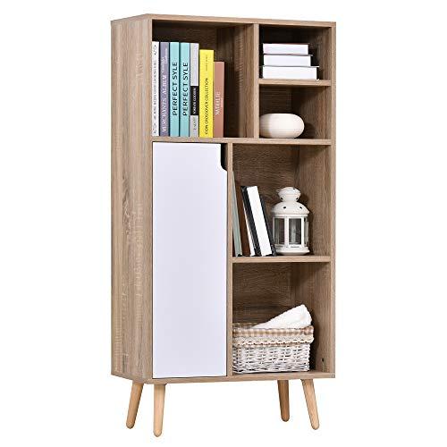 HOMCOM Bücherregal Standregal Kommode Küchenschrank Würfelregal mit 5 offene Ablagefächer und 1 Schrank, Weiß+Natur, Spanplatte+Kiefernholz, 60 x 30 x 121 cm